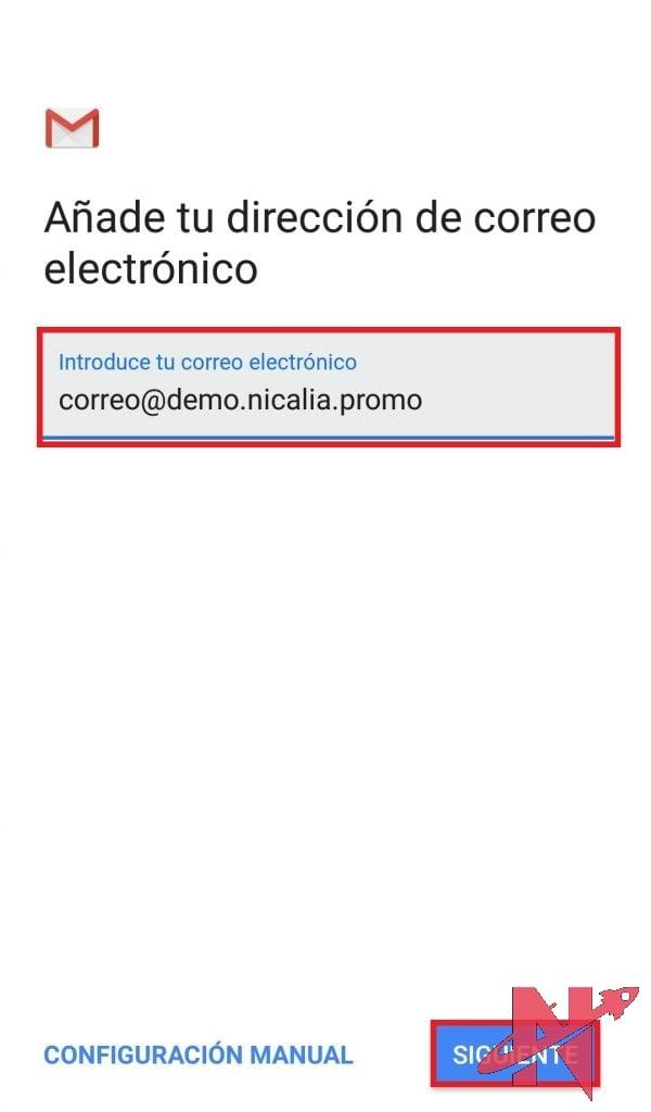 añadir correo electronico
